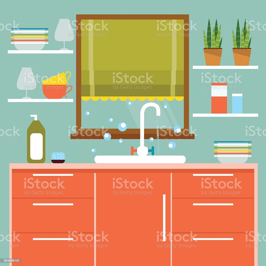 Kitchen interier. Vector Illustration vector art illustration