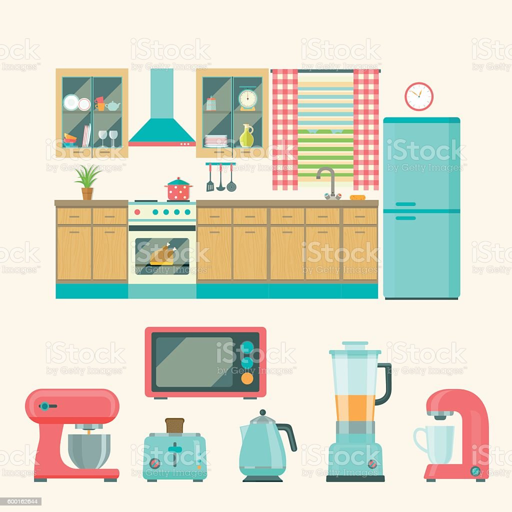 Kitchen Interior DesignSet Of Elements Vector Flat Illustration Royalty Free Stock
