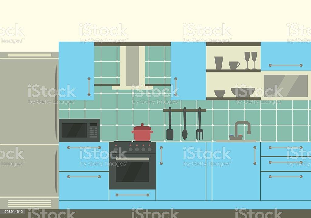 Cocina interior de diseño plano illustracion libre de derechos ...