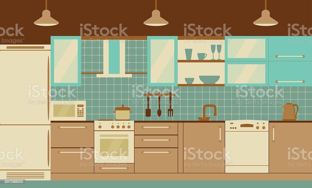 Interior de cocina con los muebles de diseño plano de casa y ...