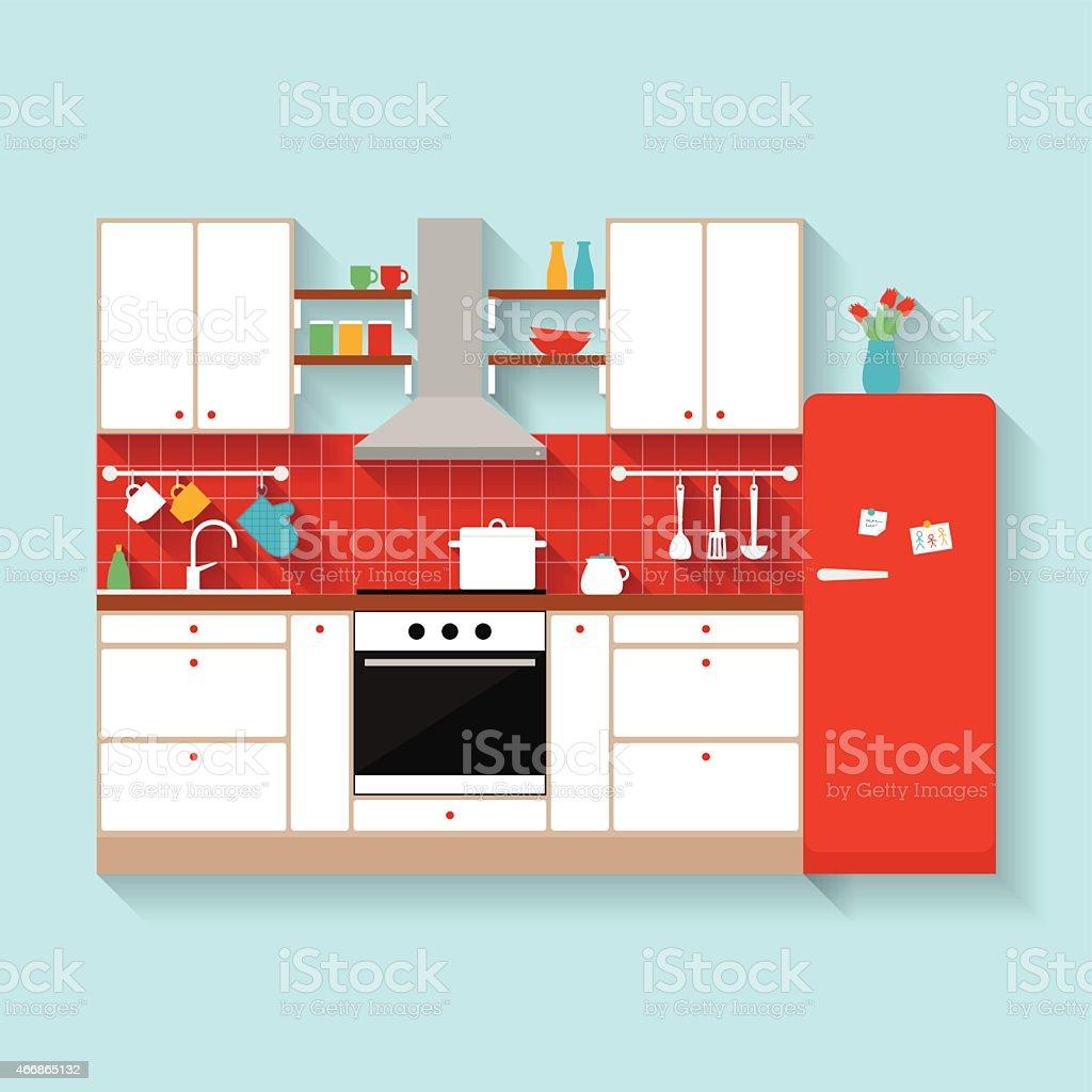 Kitchen interior. Flat style illustration vector art illustration