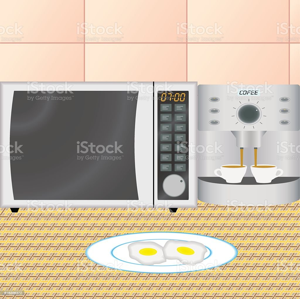 Kitchen interior in the early morning vector art illustration
