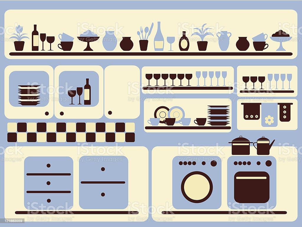 Kitchen interior. Vector illustration. royalty-free stock vector art