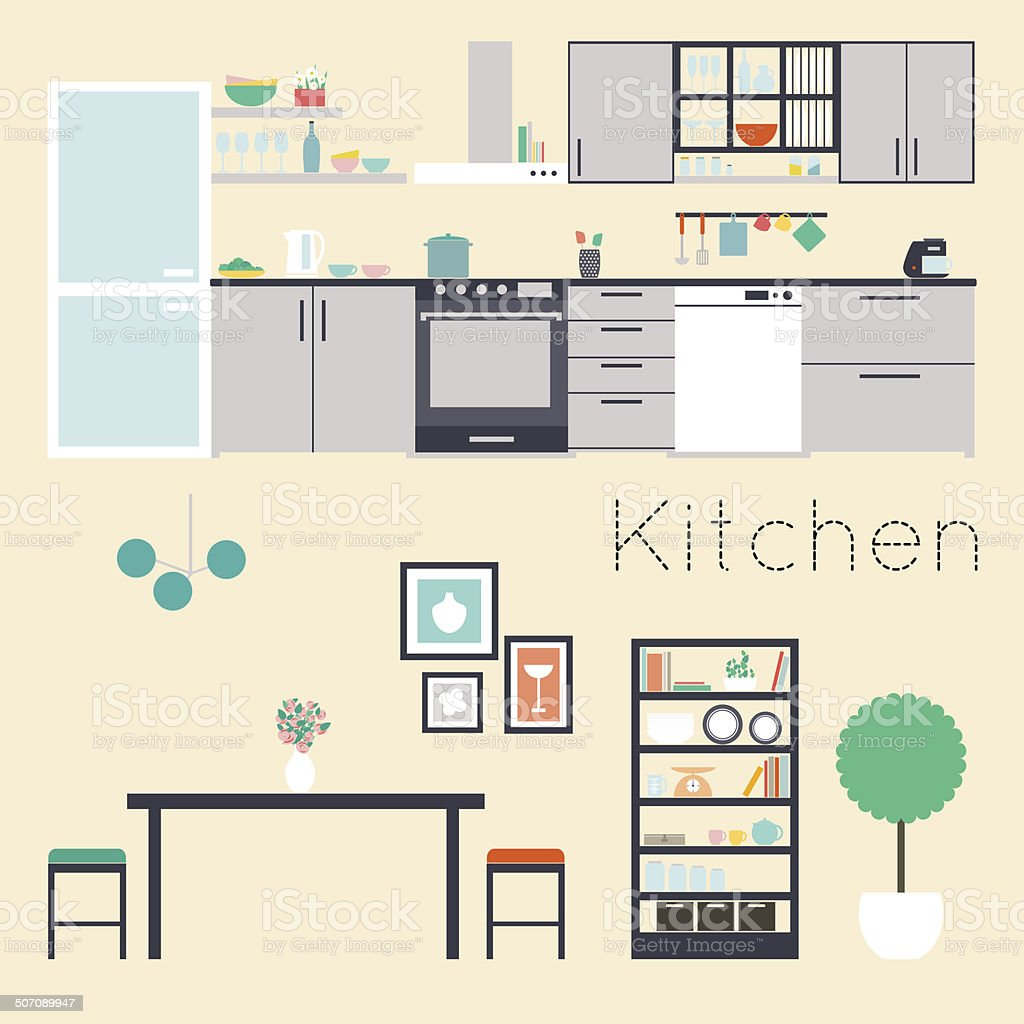Kitchen interior vector illustration vector art illustration