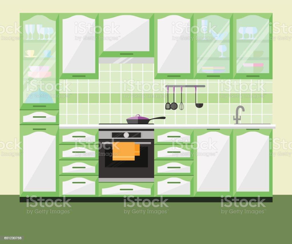 Kitchen interior with furniture and equipment. Vector flat illustration. vector art illustration