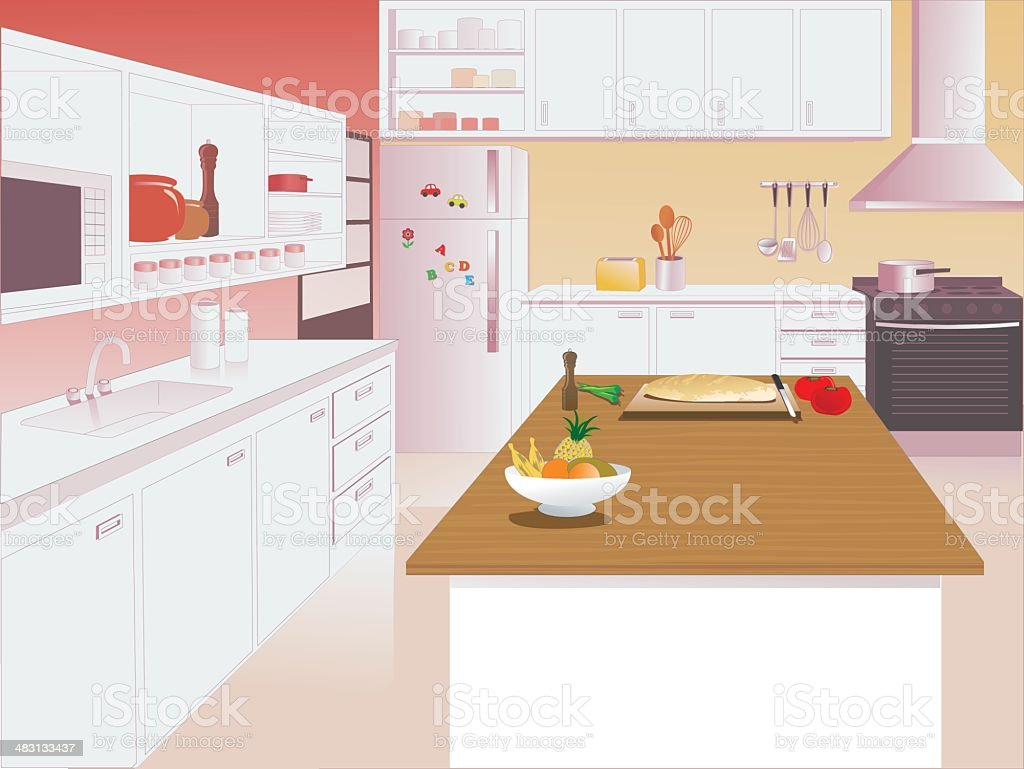 Kitchen Interior with Microwave, Sink and Oven royalty-free stock vector art