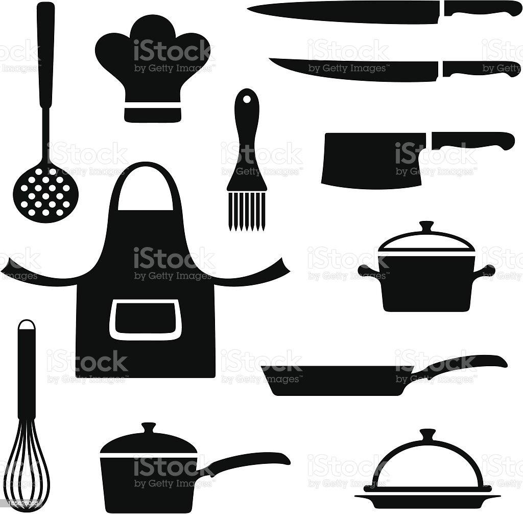 Kitchen items vector art illustration
