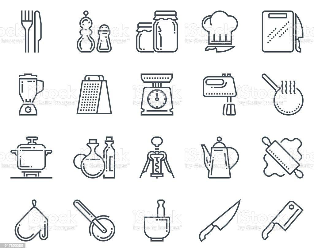 Kitchen, kitchenware icon set vector art illustration