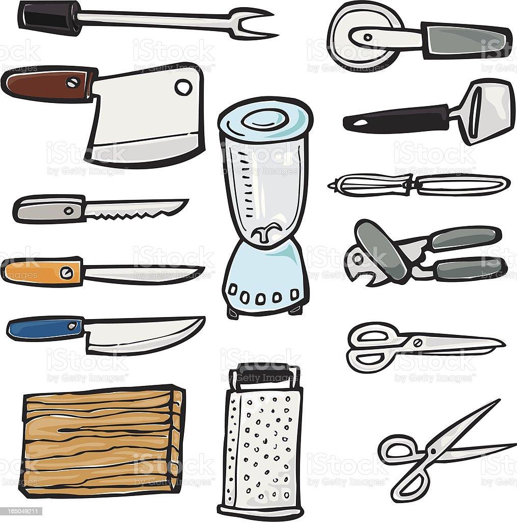 Kitchen Knives, Appliances, & Blades vector art illustration
