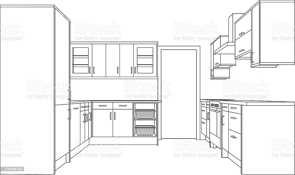 Kitchen Line Drawing vector art illustration