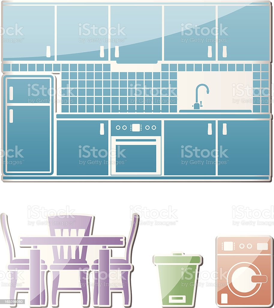 kitchen objects, furniture and equipment royalty-free stock vector art