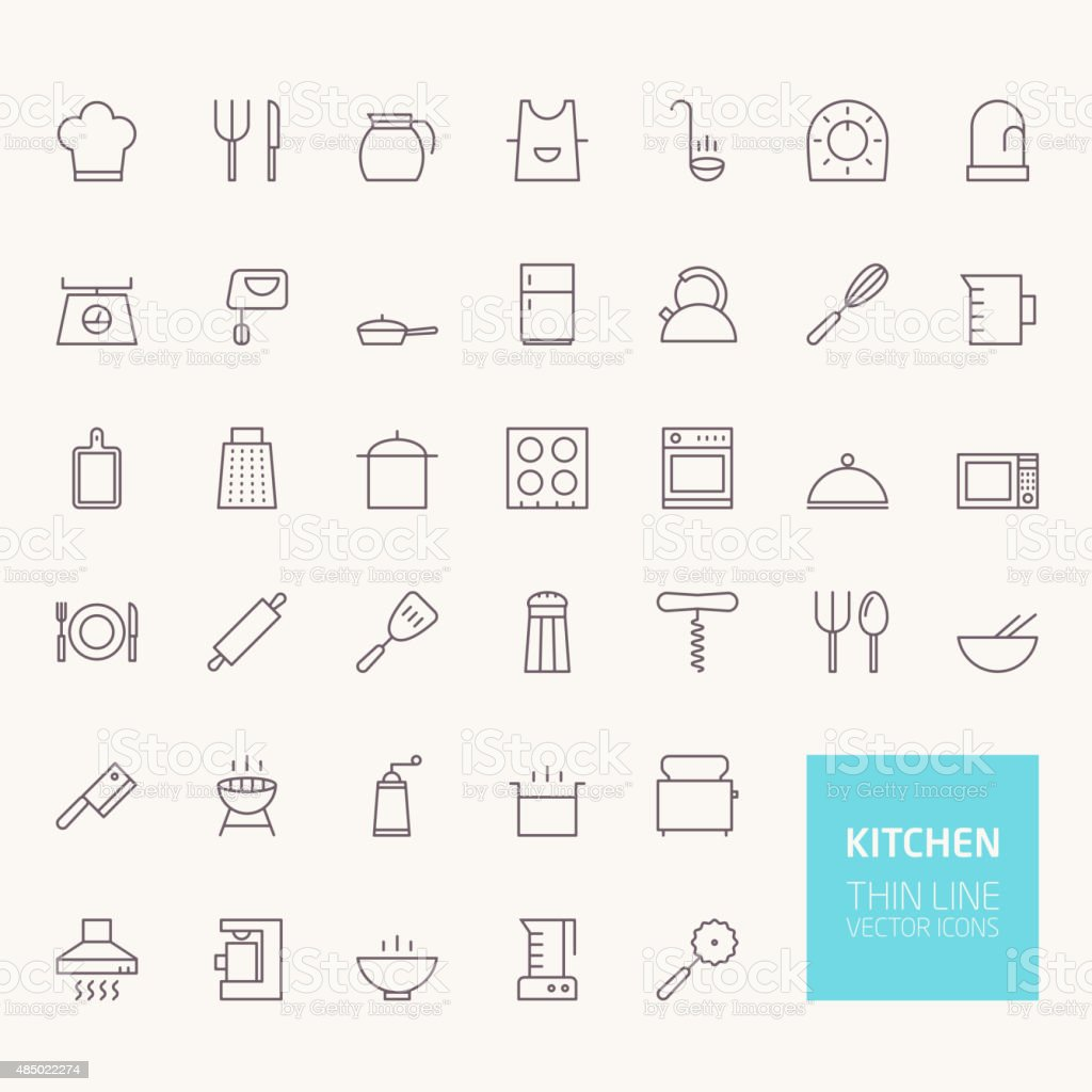 Kitchen Outline Icons for web and mobile apps vector art illustration