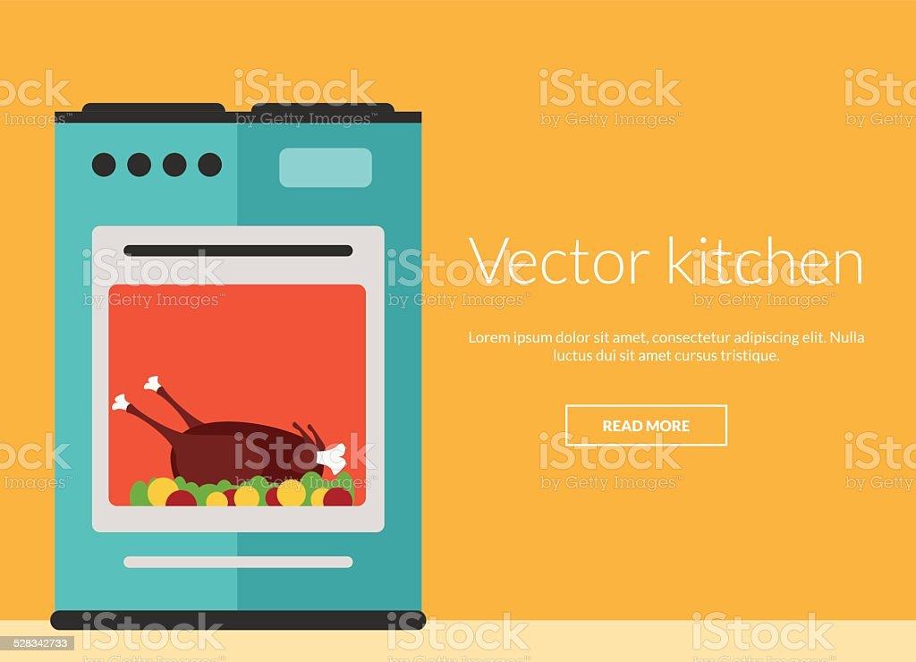 Kitchen oven with roast chicken vector illustration vector art illustration