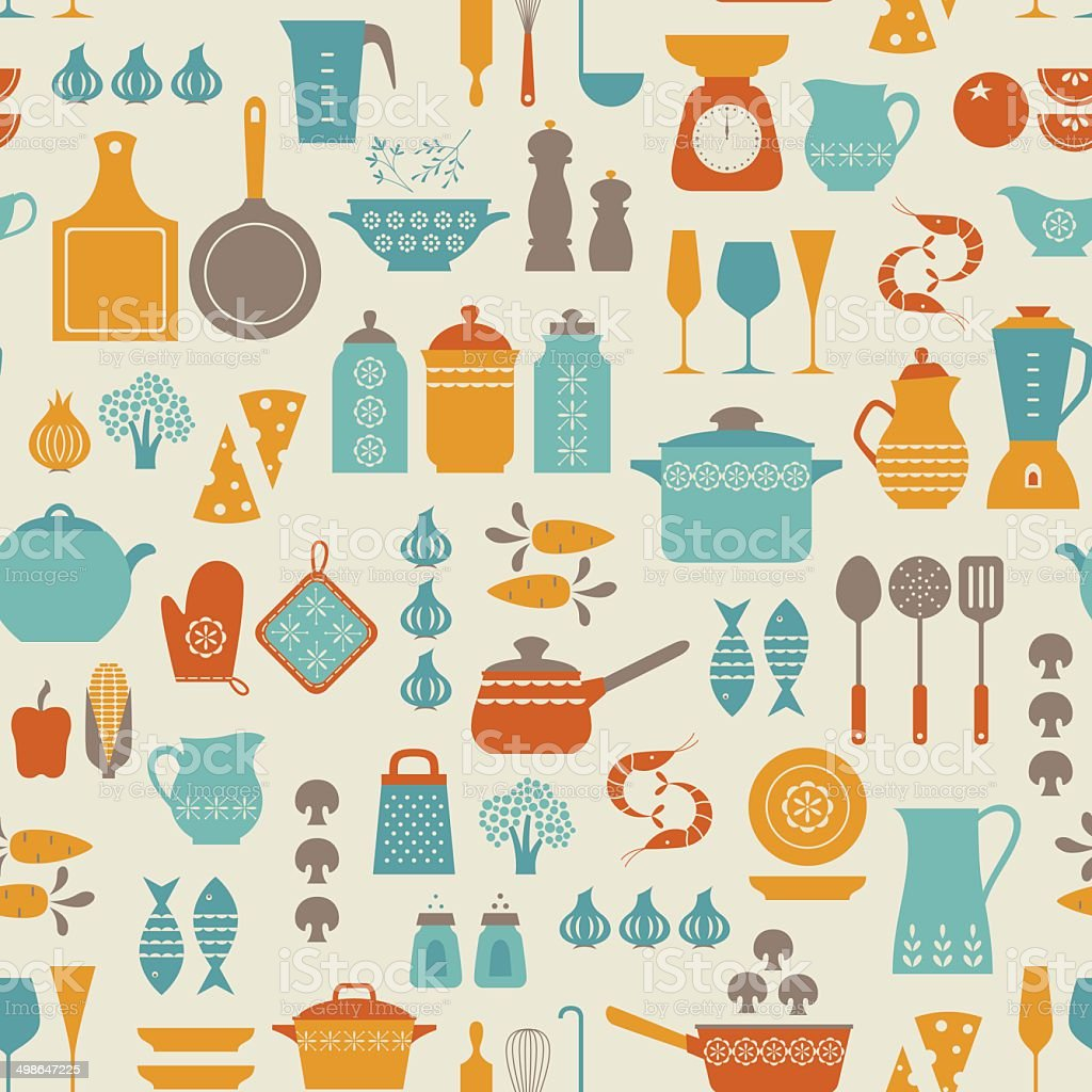 Kitchen pattern vector art illustration
