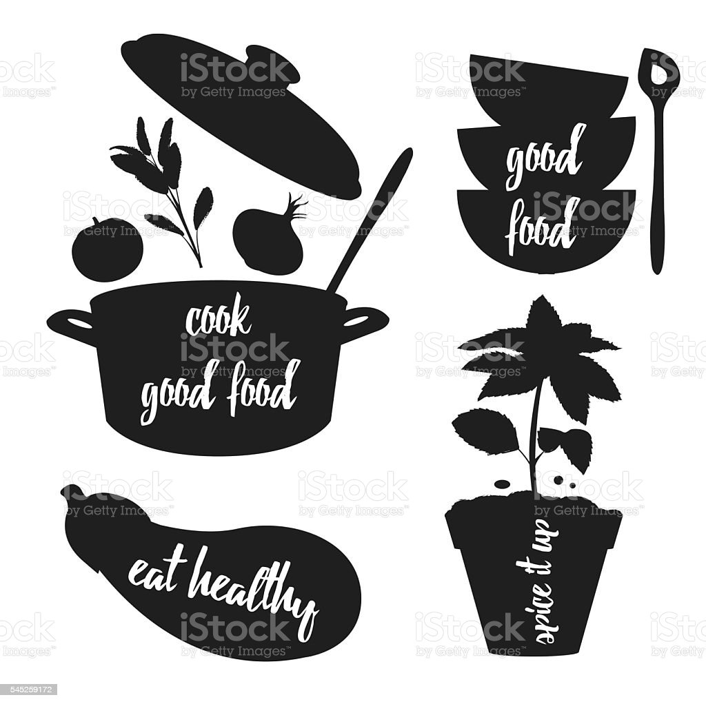 Kitchen related silhouettes with text vector art illustration