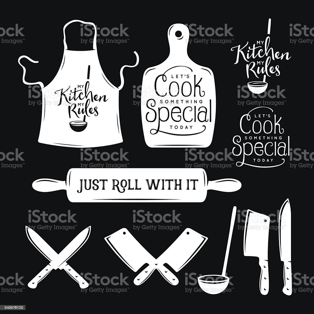 Kitchen related typography set. Quotes about cooking. Vintage vector illustration. vector art illustration