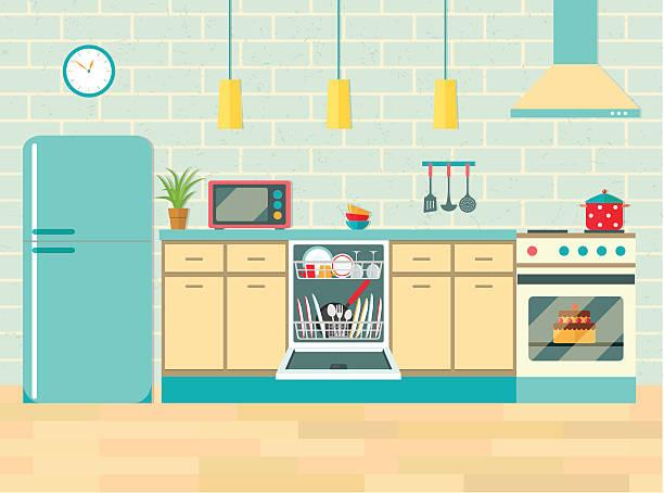 Illustration Kitchen Retro Interior Vector Flat Art