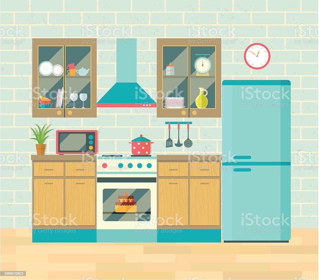Kitchen retro interior . Vector flat illustration. vector art illustration