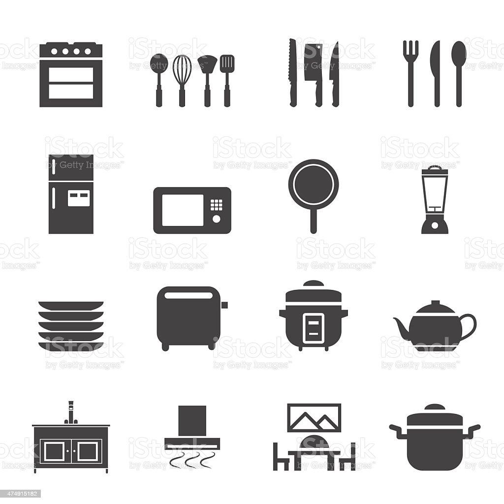 Kitchen room icon set vector art illustration