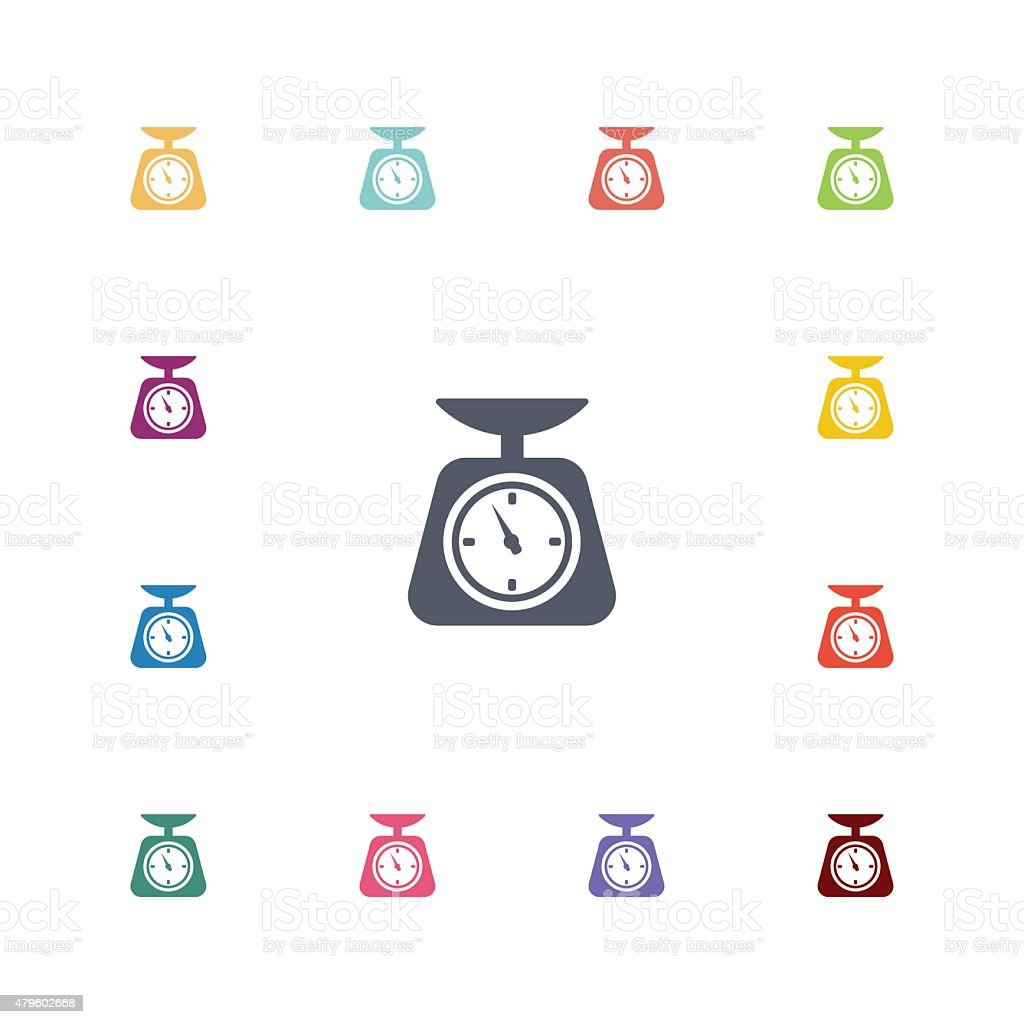 kitchen scales flat icons set vector art illustration