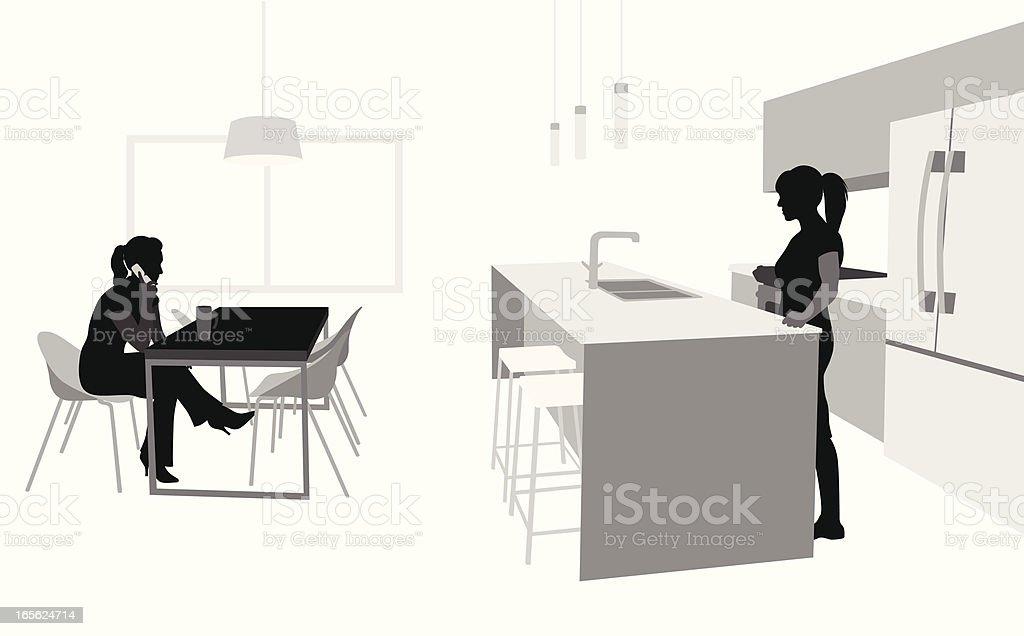 Kitchen Scene Vector Silhouette royalty-free stock vector art