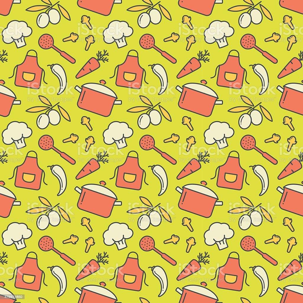Kitchen seamless pattern. Vector background. vector art illustration