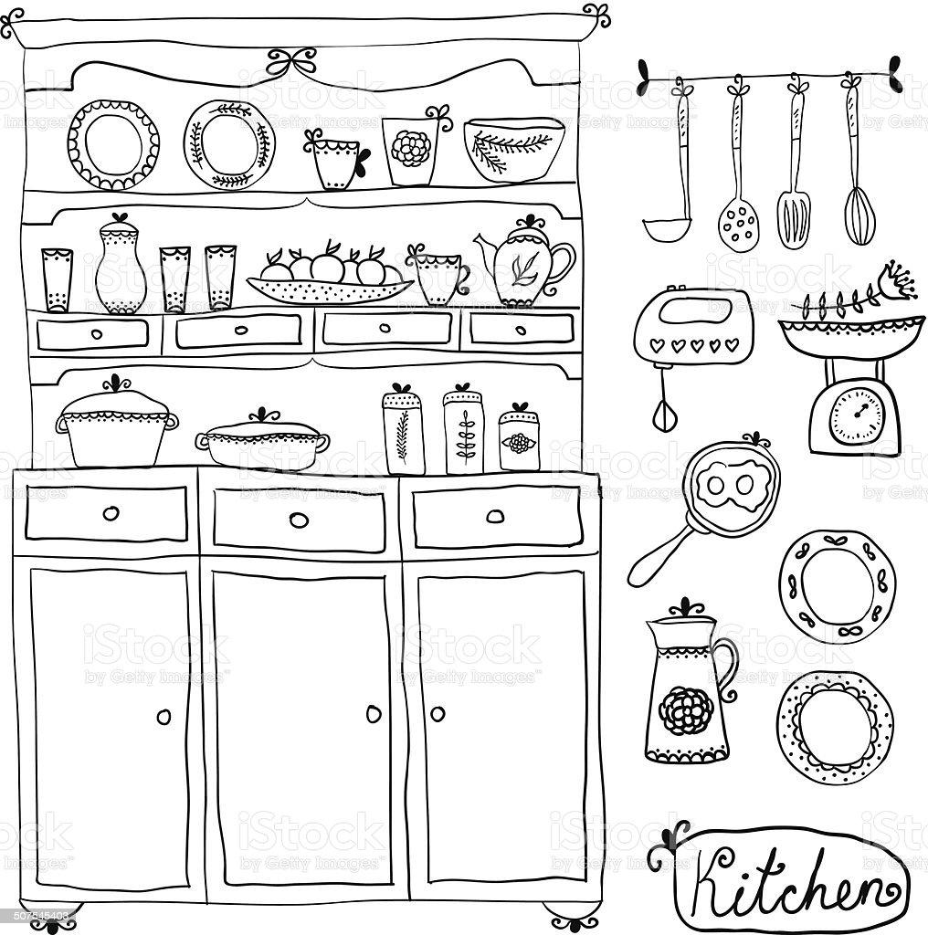 Kitchen set in vector. Design elements of kitchen. vector art illustration