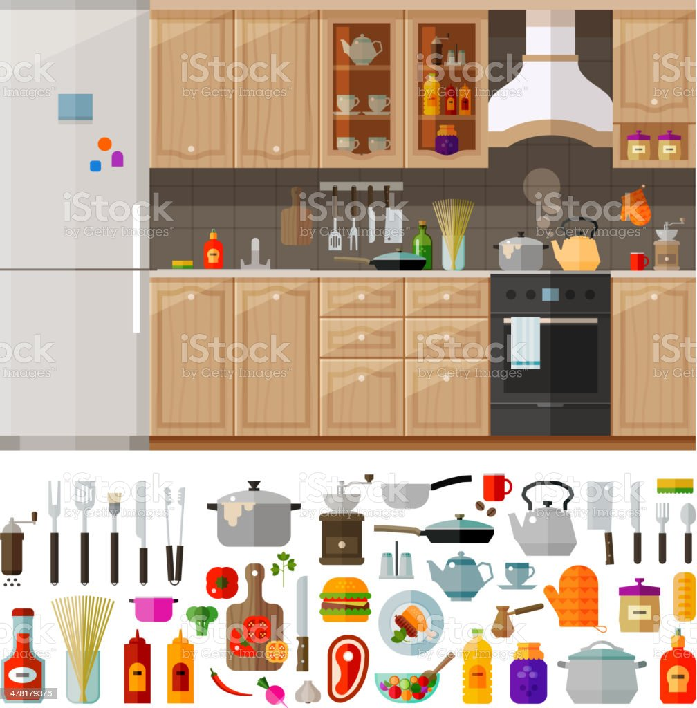 kitchen. set of elements - utensils, tools, food, kettle, pot vector art illustration