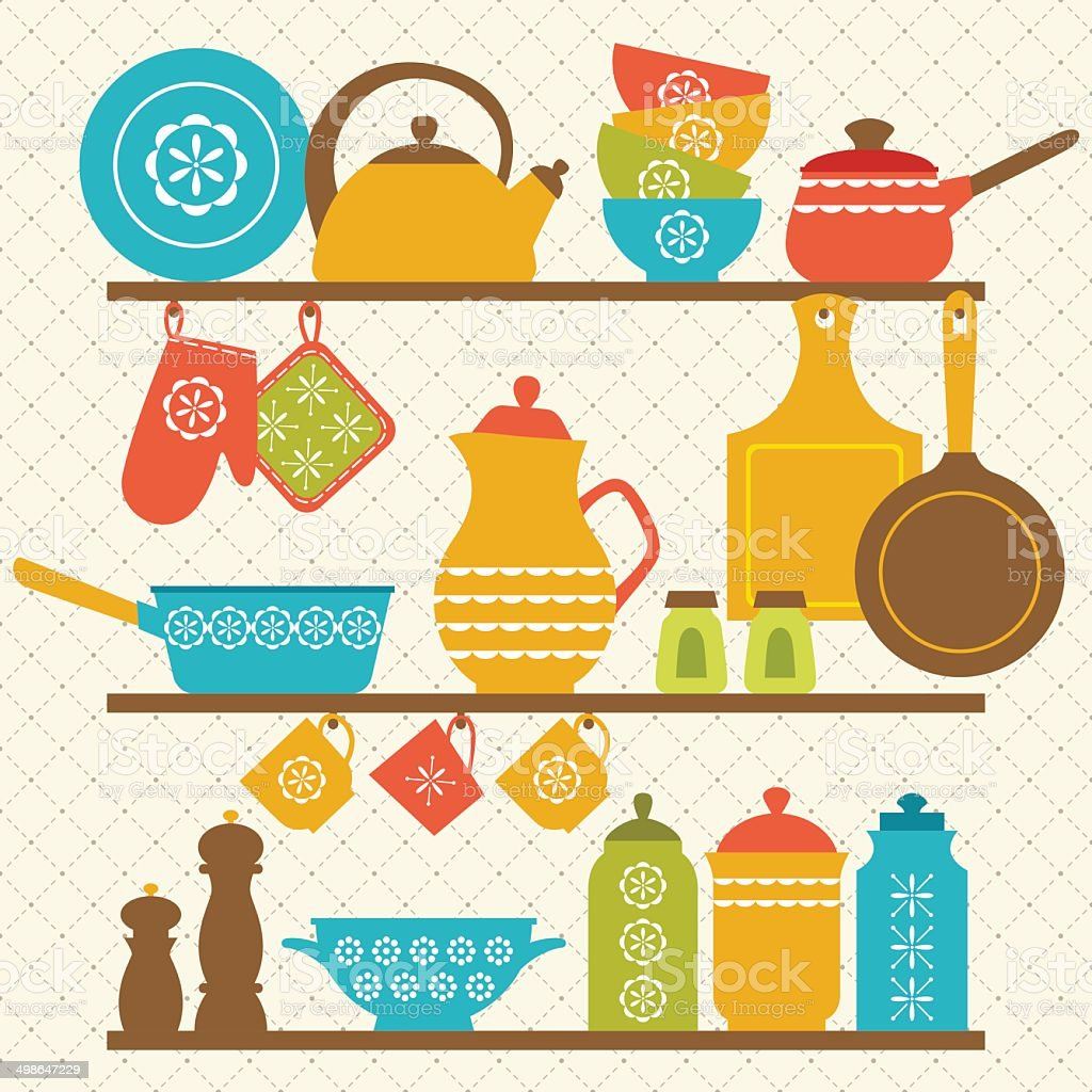 Kitchen shelves vector art illustration
