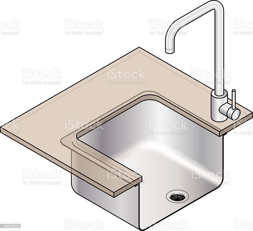 Kitchen sink installation vector art illustration
