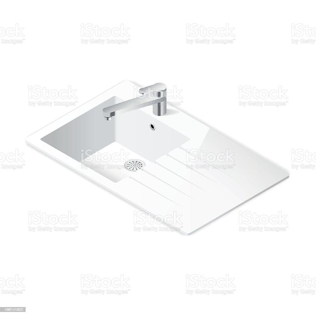 Kitchen sink isometric icon vector art illustration