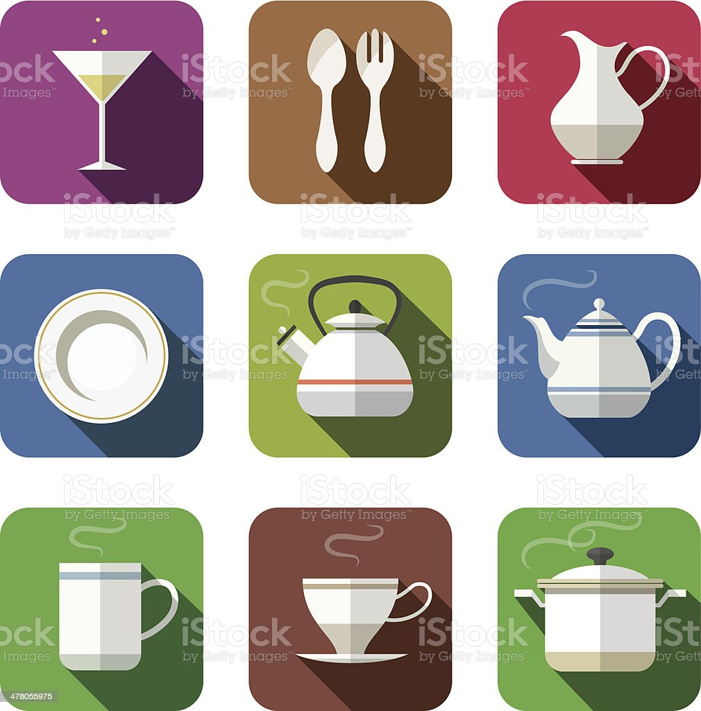 kitchen tableware set of icons royalty-free stock vector art