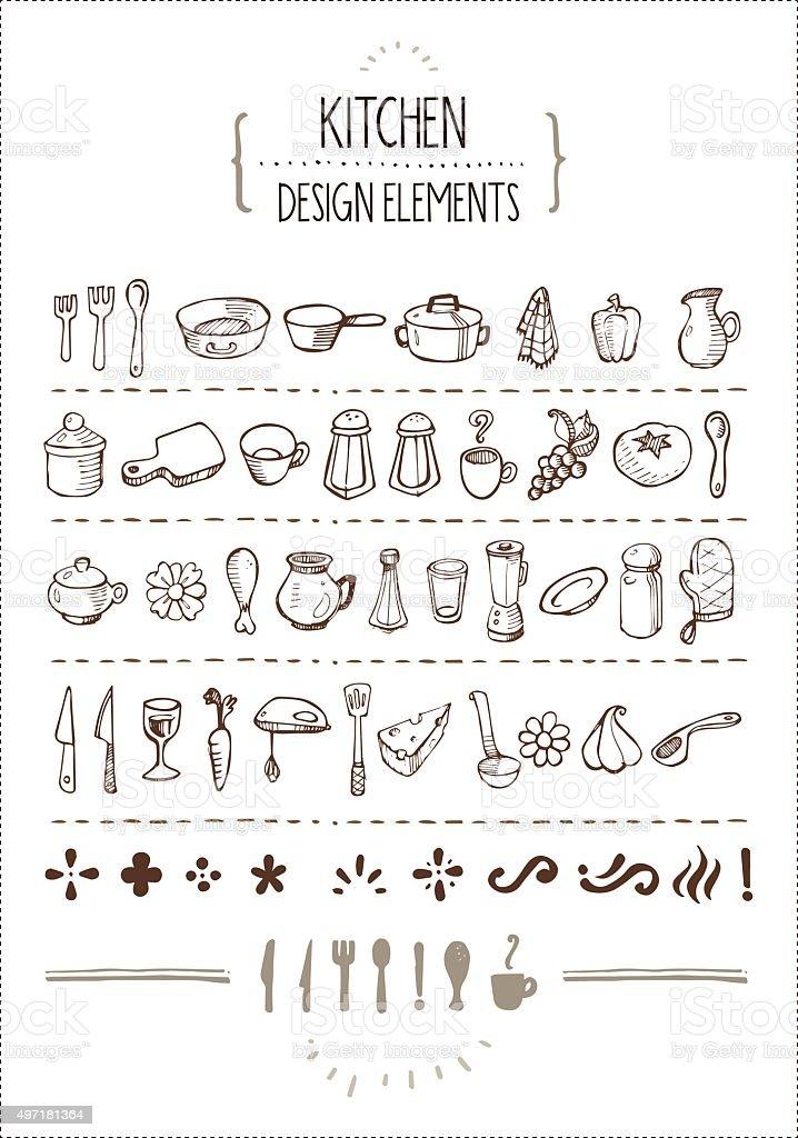 Kitchen Themed Doodles for Designers vector art illustration