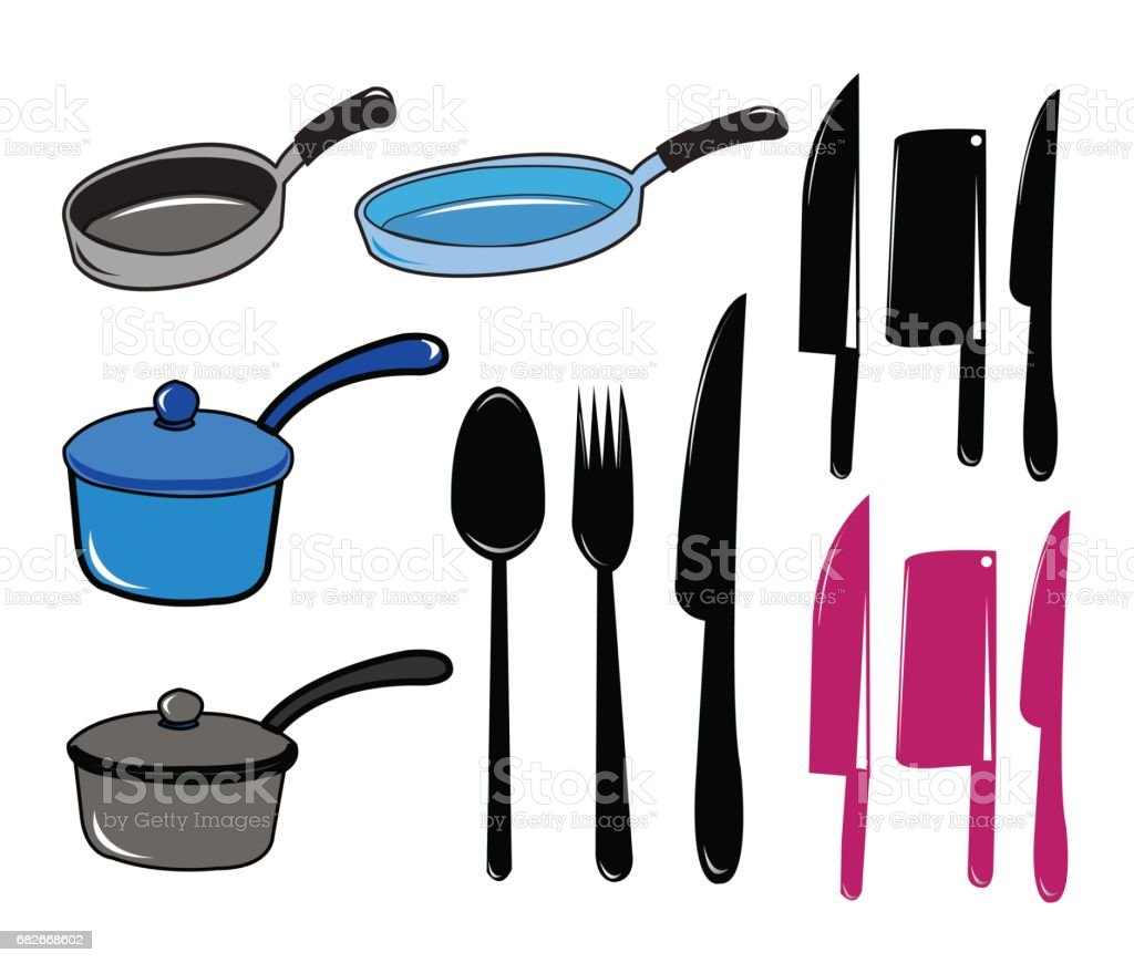 Kitchen tool collection vector art illustration