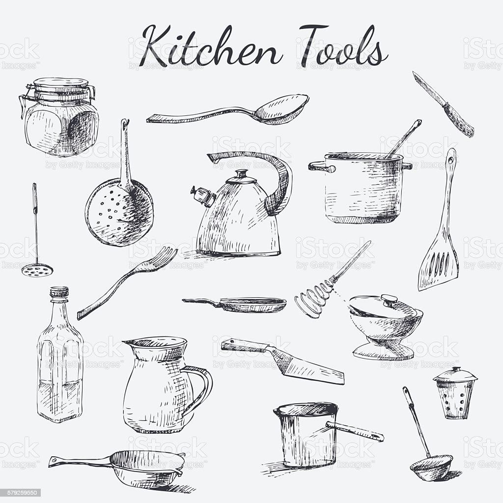 kitchen tool set vector art illustration