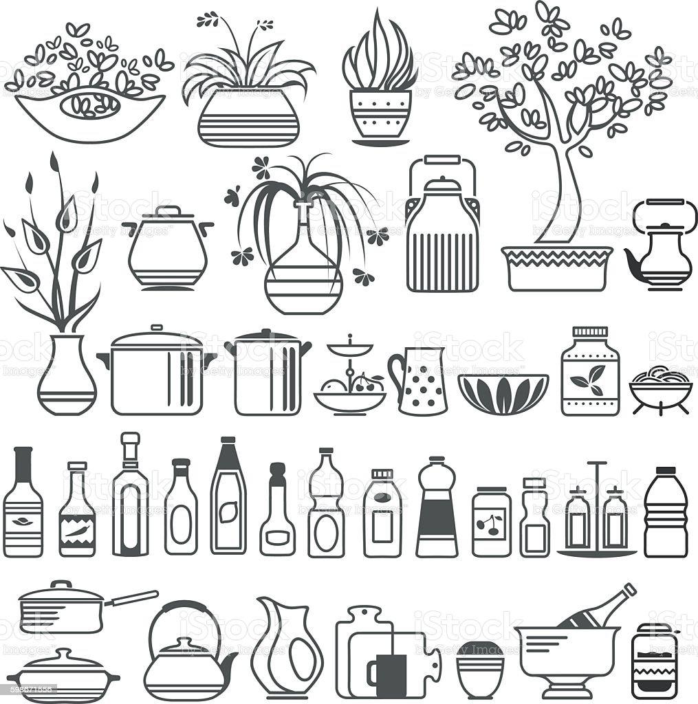 kitchen tools and utensils. Vector illustration vector art illustration