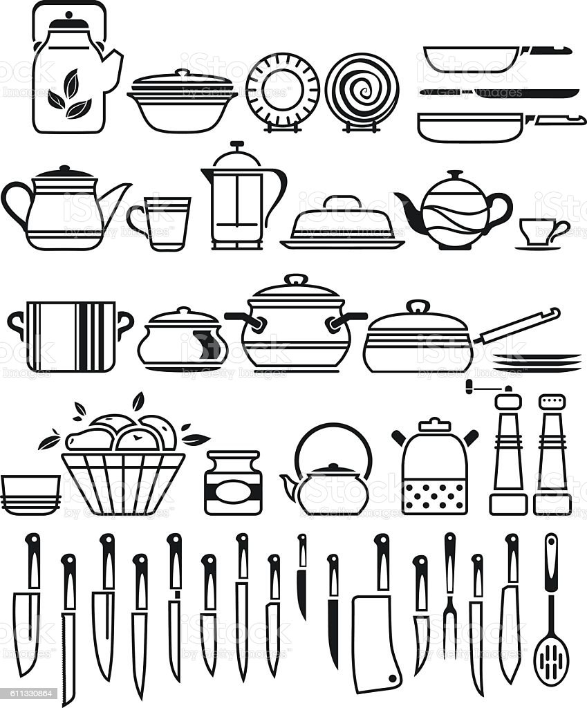 Kitchen tools drawing - Kitchen Tools And Utensils Vector Illustration Royalty Free Stock Vector Art