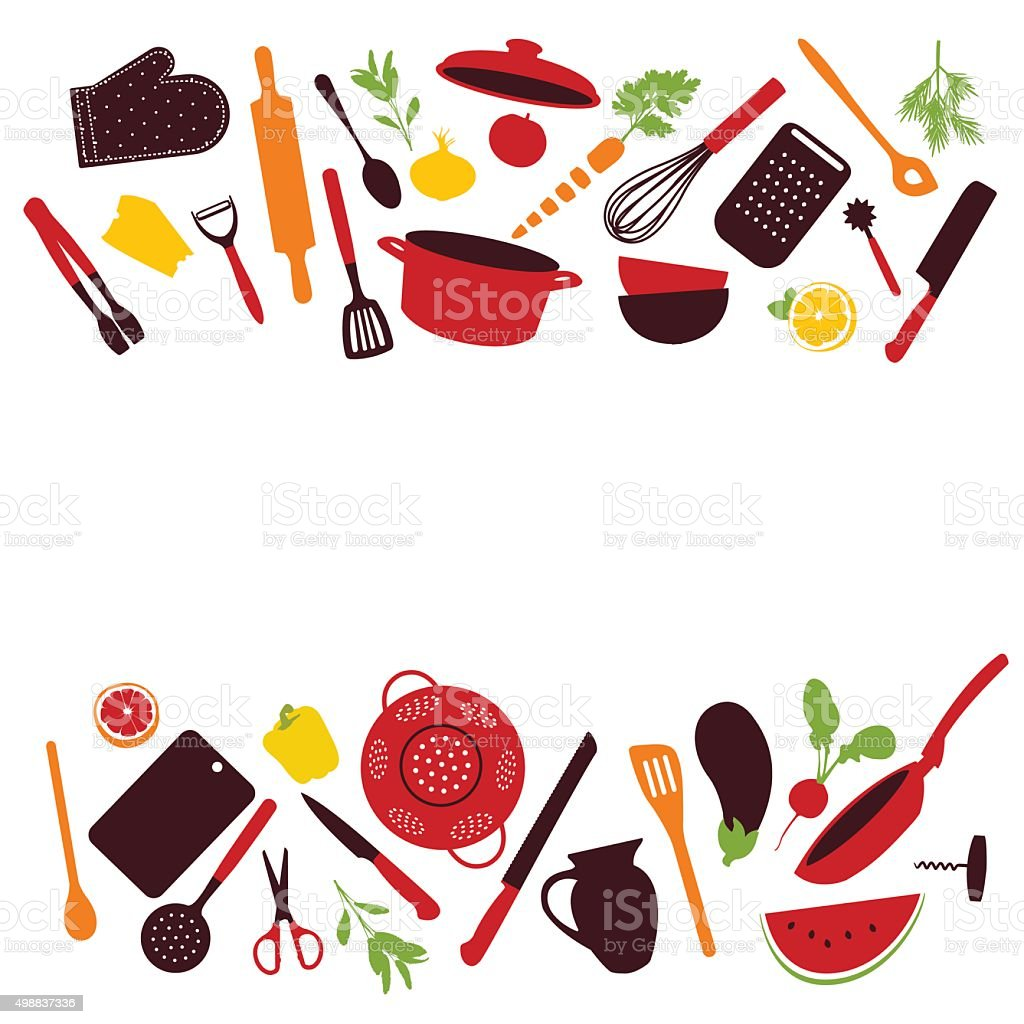 Kitchen tools background isolated vector art illustration