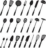 Kitchen Tools black & white royalty free vector icon set