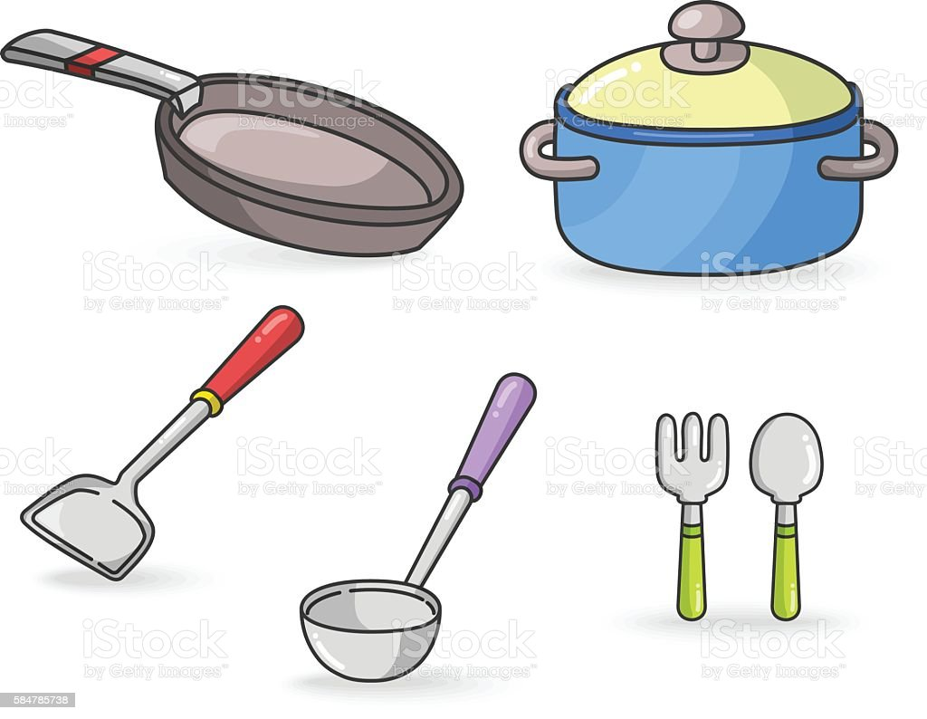 Kitchen Tools colorful Vector vector art illustration