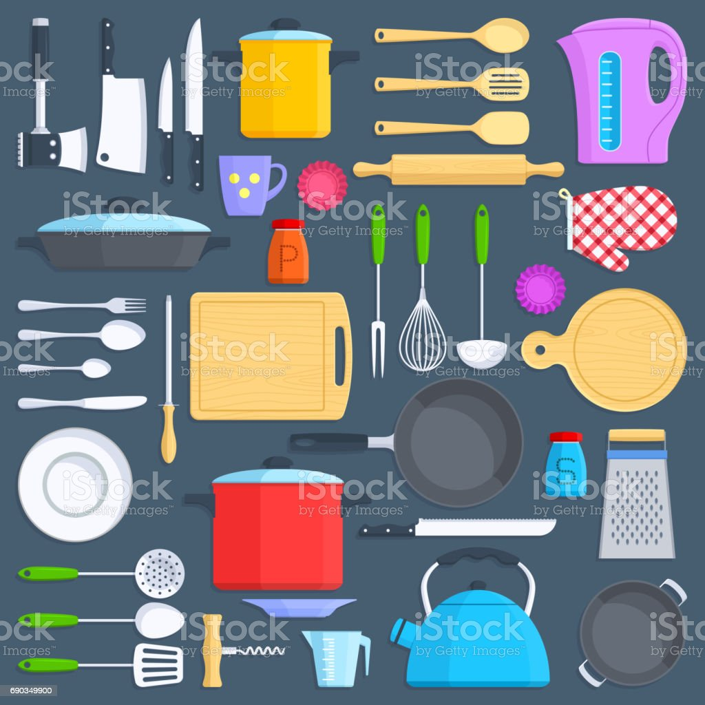 Kitchen tools, cookware and kitchenware flat icons set vector art illustration
