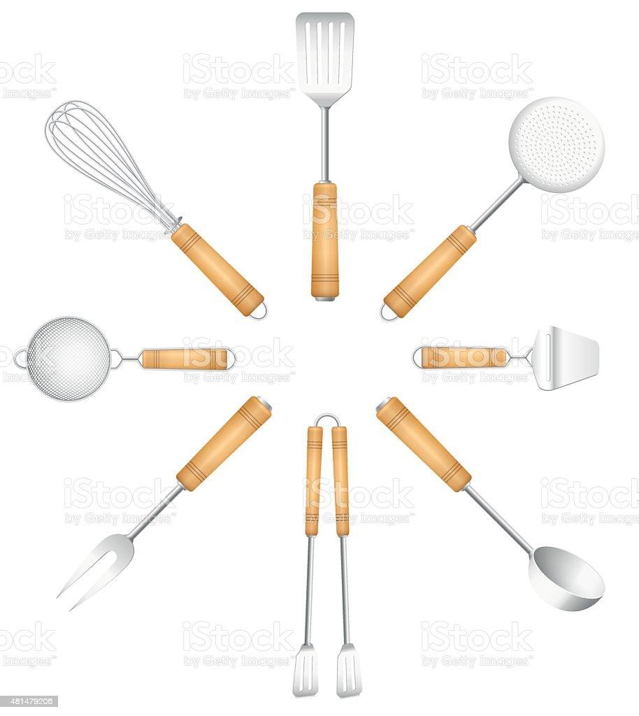 Kitchen Tools Cutlery Circle Sun vector art illustration
