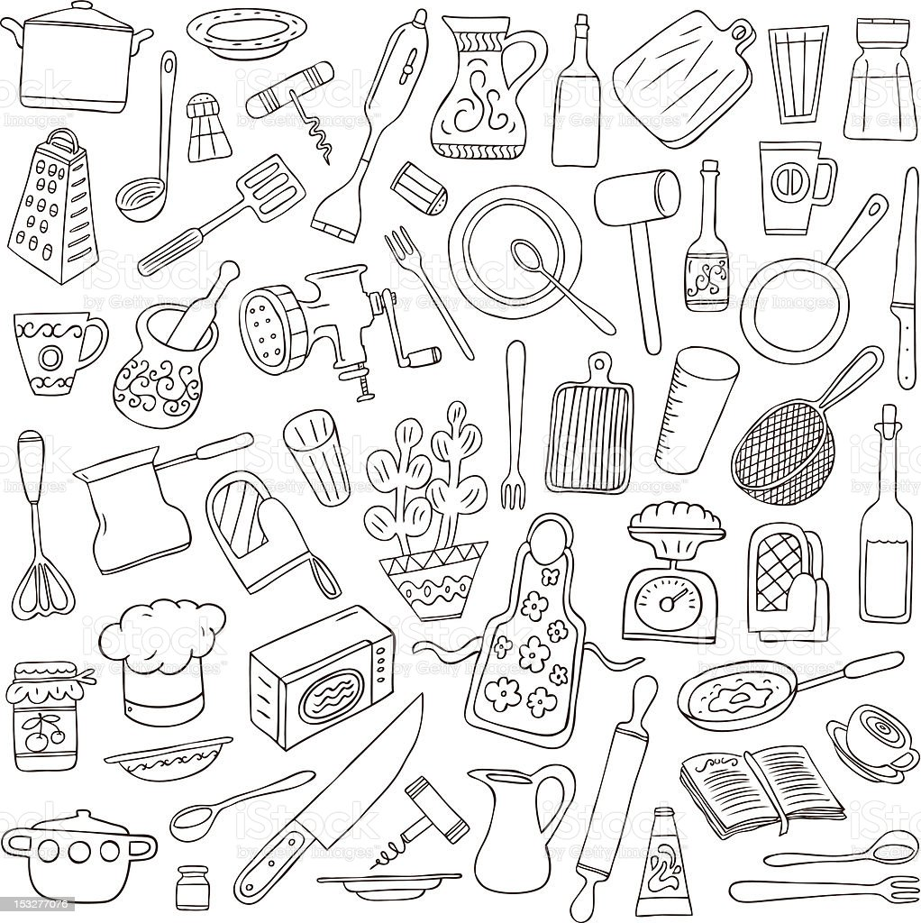 kitchen tools - doodles collection stock photo