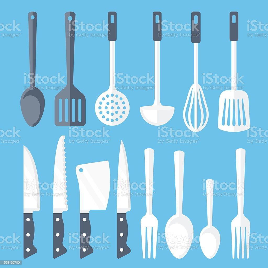 Kitchen tools flat icons set. Vector illustration vector art illustration