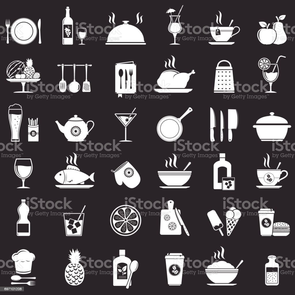 Kitchen tools, food and drinks icons set vector art illustration
