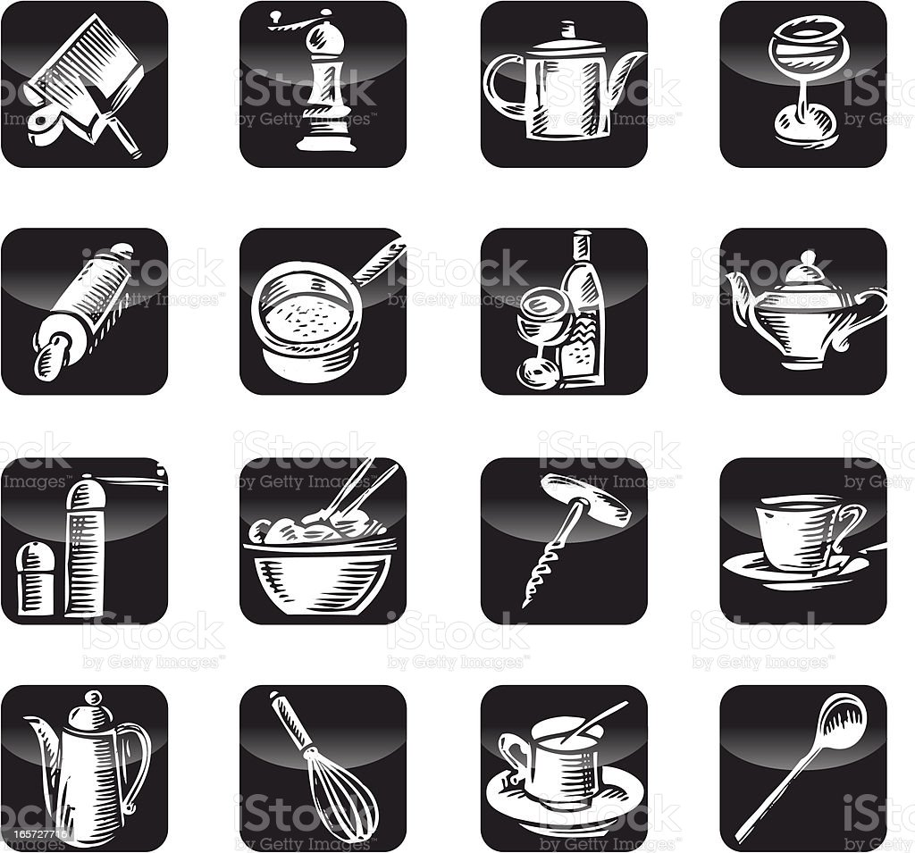 Kitchen tools Icon Set vector art illustration