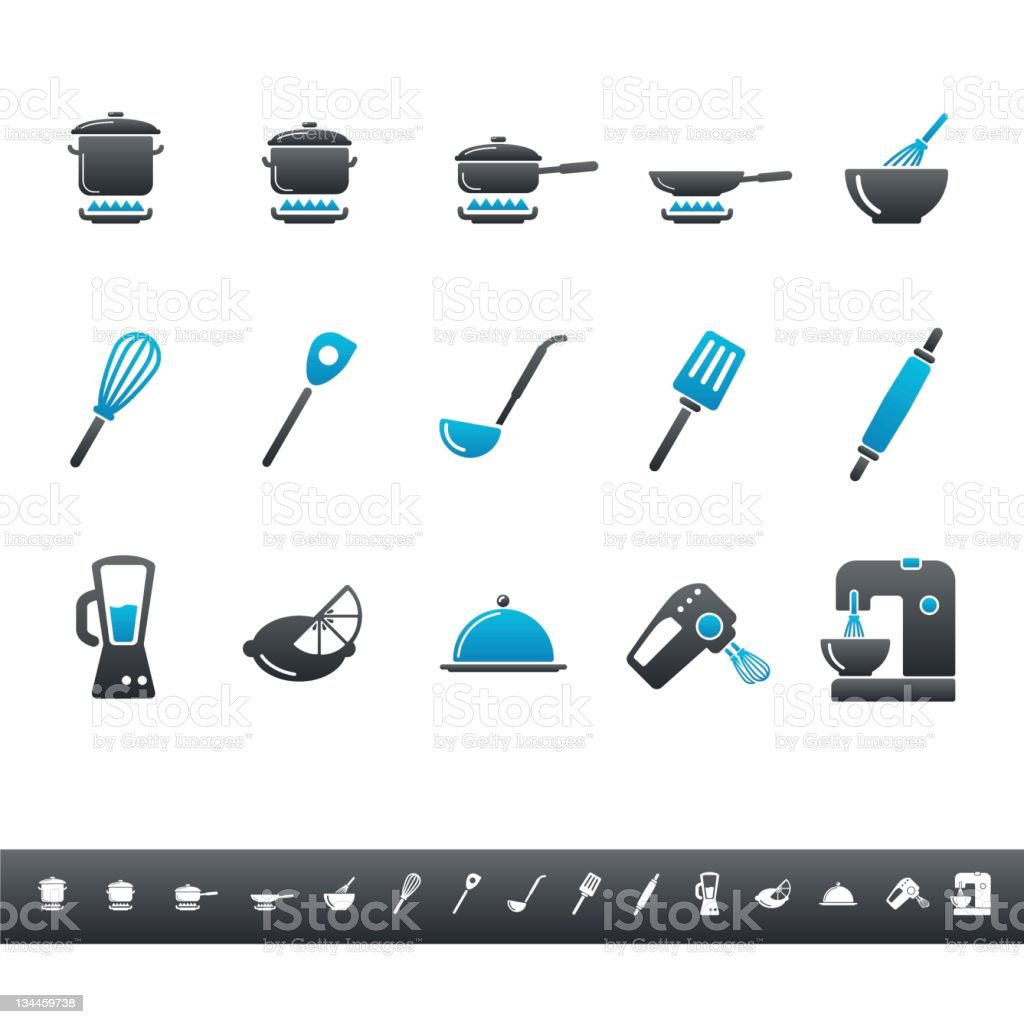 Kitchen Tools Icons | Blue Grey stock photo