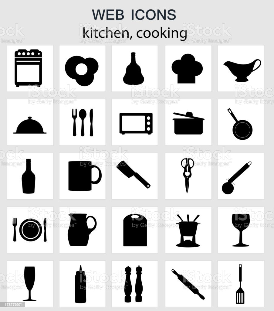 Kitchen tools icons Silhouette Vector illustration royalty-free stock vector art