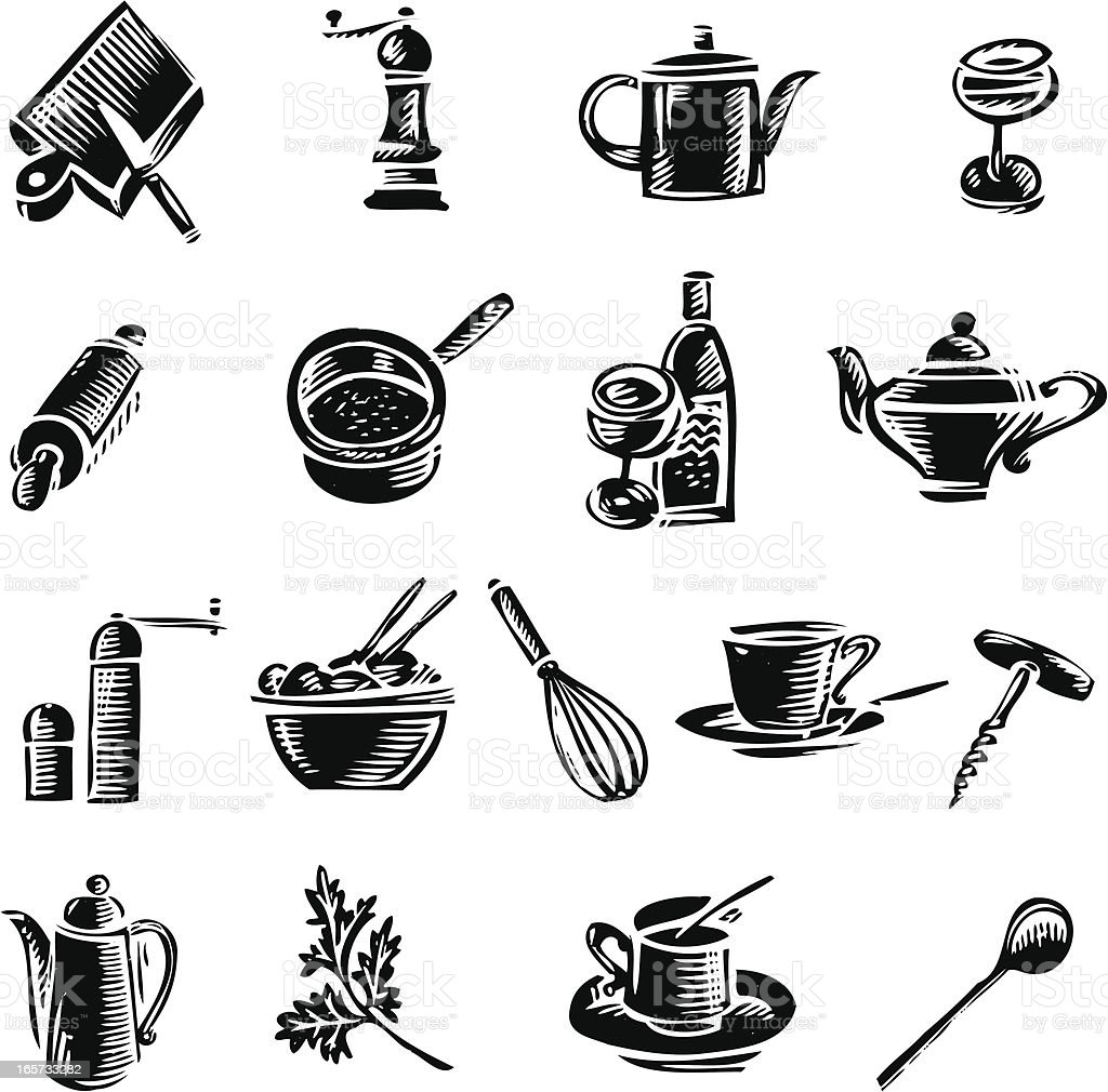 Kitchen tools vector art illustration