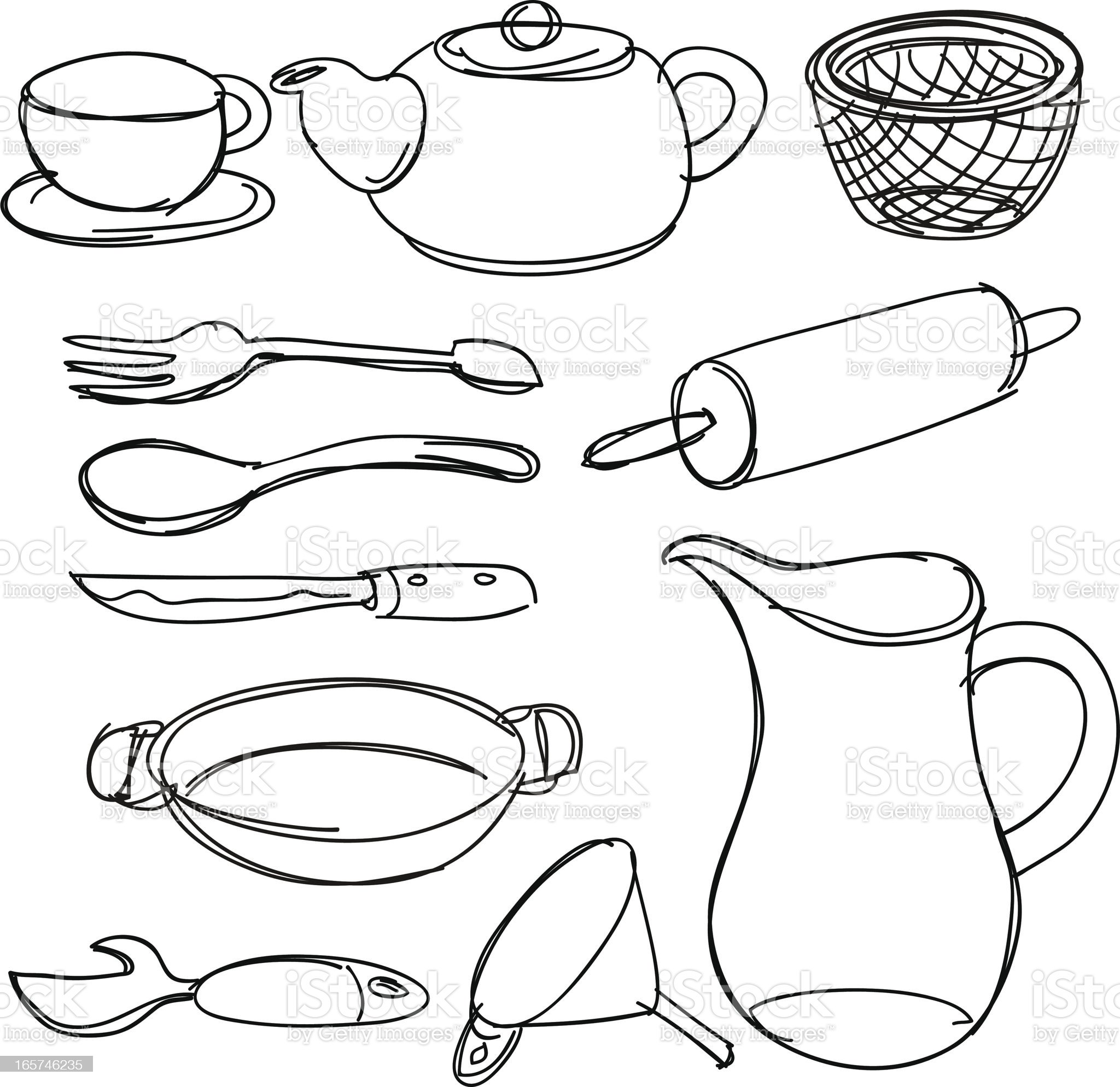 Kitchen utencils collection royalty-free stock vector art